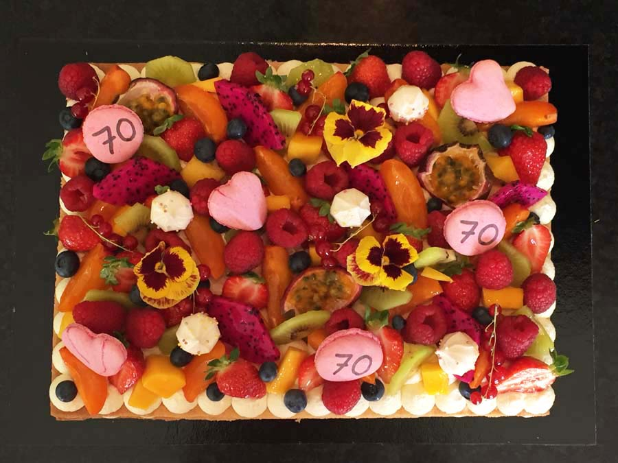 Grande plaque vanille multifruits (comme un number cake)